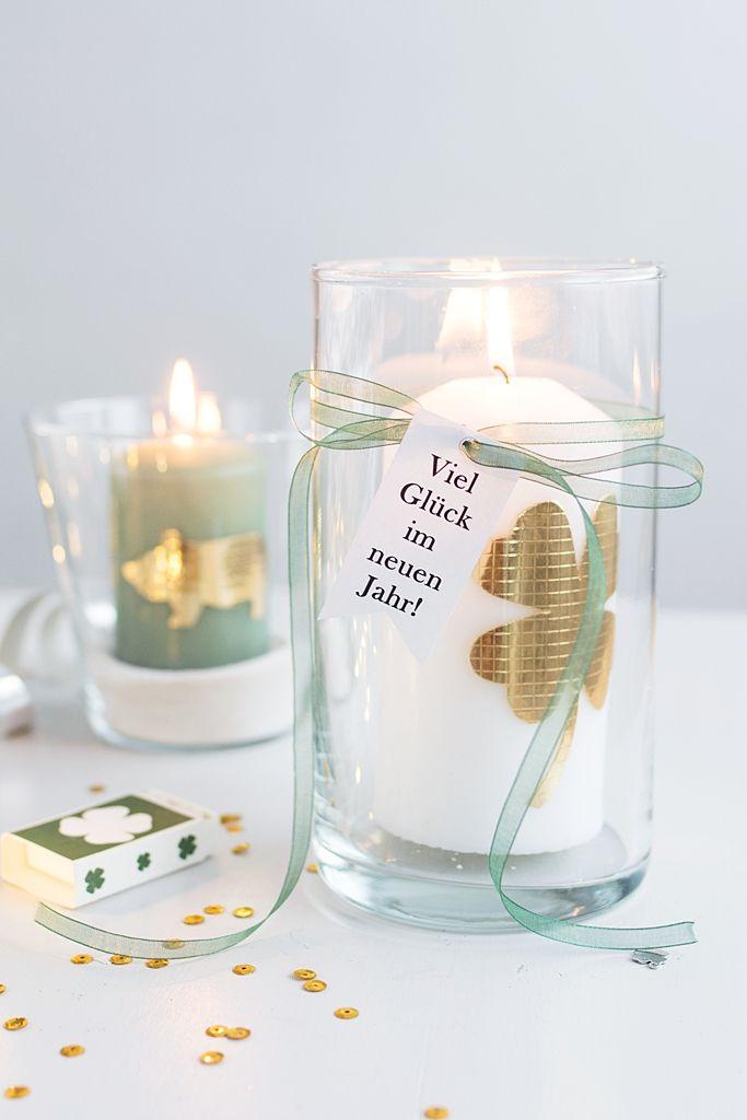 DIY Silvester: Glückskerze, Wunschglas to-go + Sektgläser mit Gold-Glitter