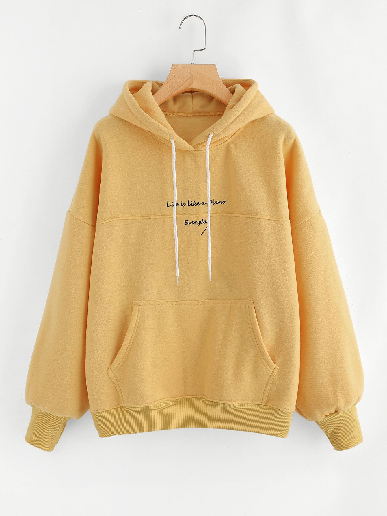 Shop Slogan Embroidery Hoodie Online Shein Offers Slogan Embroidery Hoodie More To Fit Your Fashionable N Stylish Hoodies Trendy Hoodies Cute Casual Outfits [ 1785 x 1340 Pixel ]