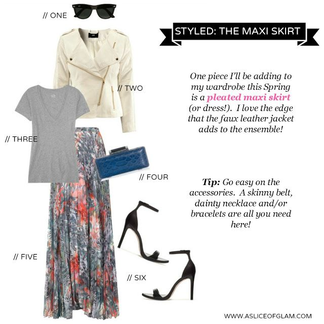STYLED: maxi skirt. Zara heels. h jacket. J.Crew tee. http://www.asliceofglam.com/2013/02/styled-going-for-max.html