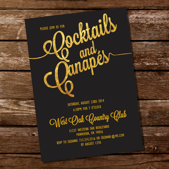 Cocktail Party Invitation Canapes Invitation Gold Cocktails – 60th Party Invitations