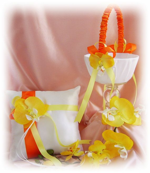 Orange and Yellow Wedding Flower Girl Basket and by All4Brides, $65.00