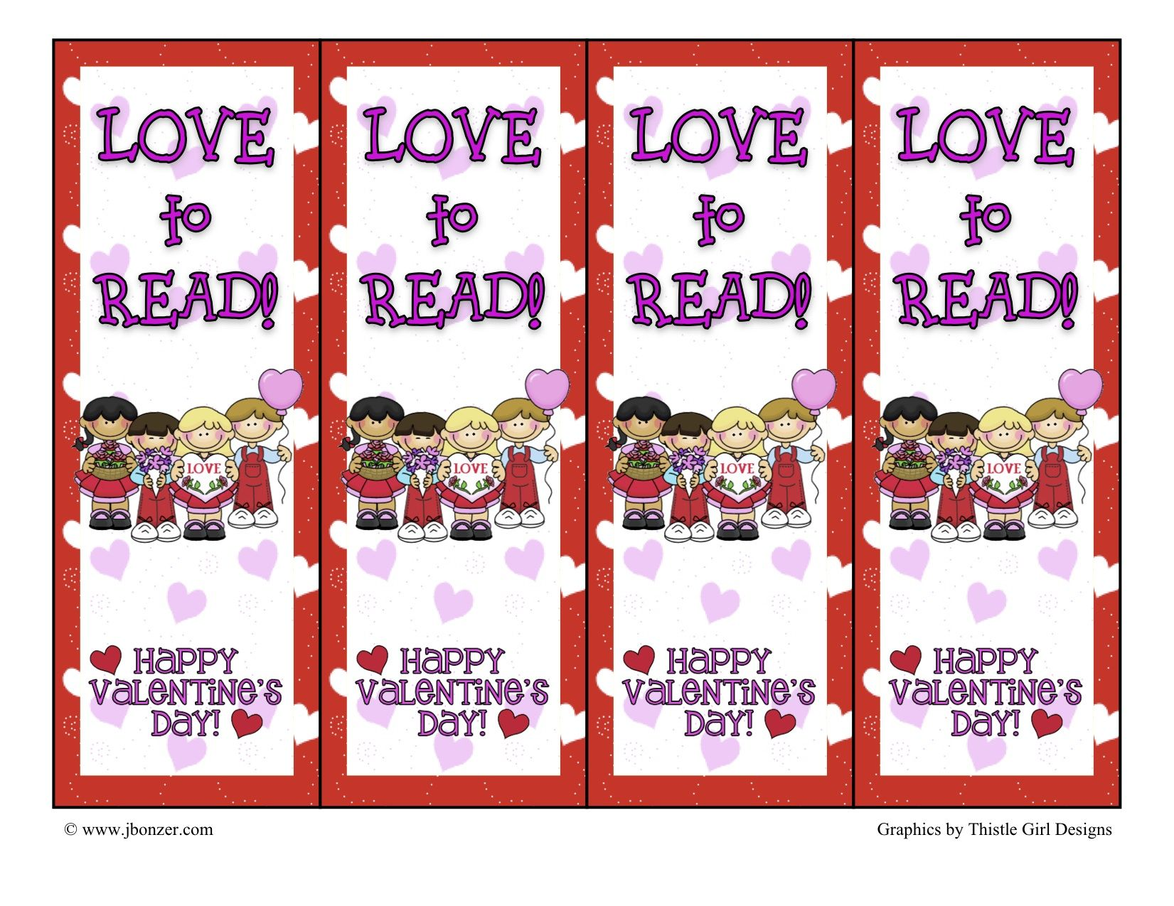 Valentine bookmark to color - Valentine Bookmarks Many School Related Printables
