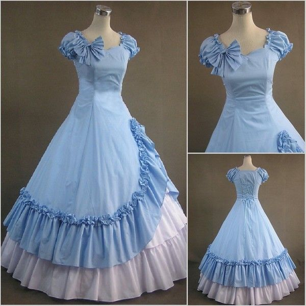 Lolita Girls Vintage Sleeveless Ball Gown Southern Belle Prom Dress 4 Colors