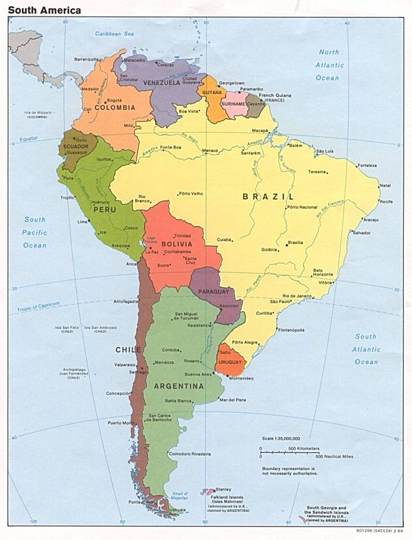 Political map of South America with all capitals | Colombia in 2019 ...