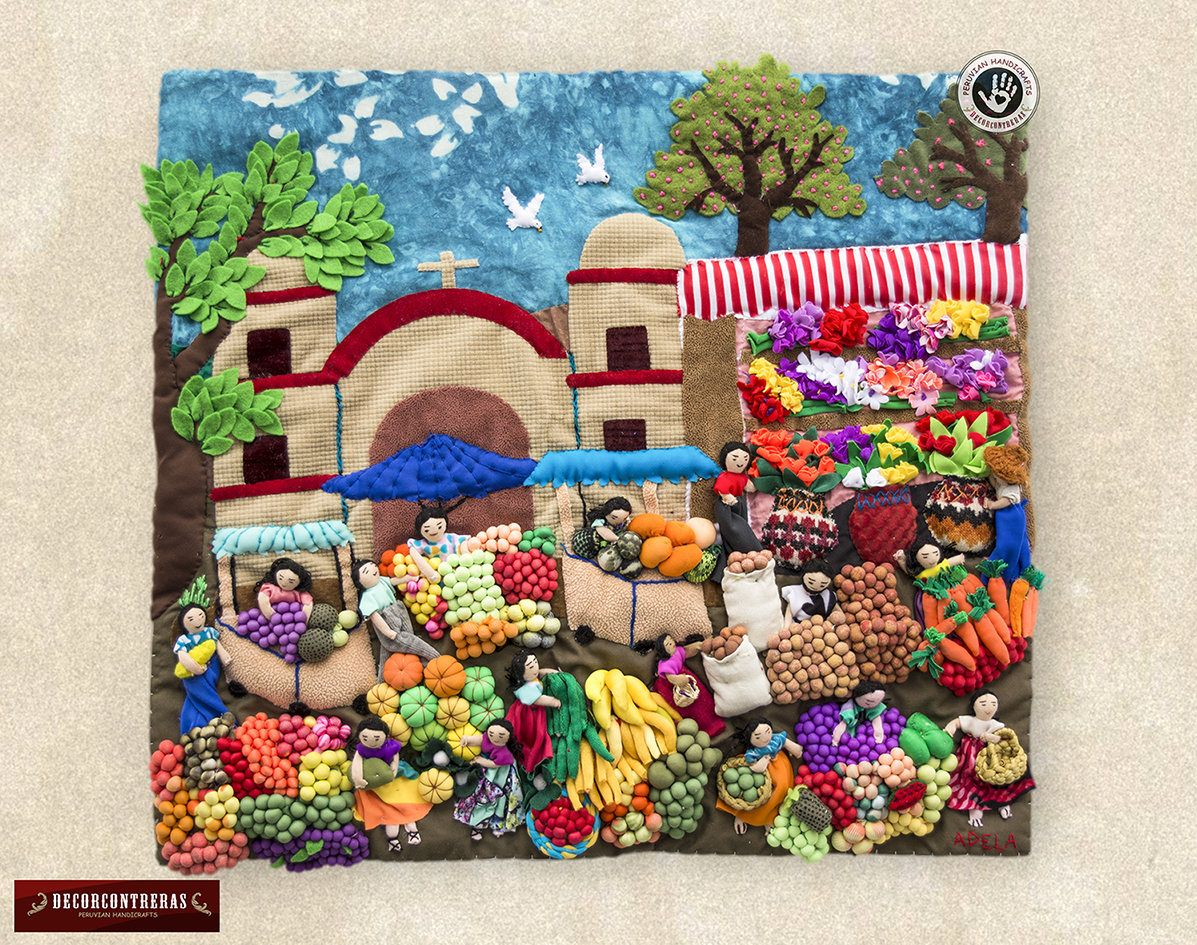 Quilted Wall Hangings 17 7h Peru Arpilleria Patchwork Etsy Folk Embroidery Quilted Wall Hangings Embroidery Projects