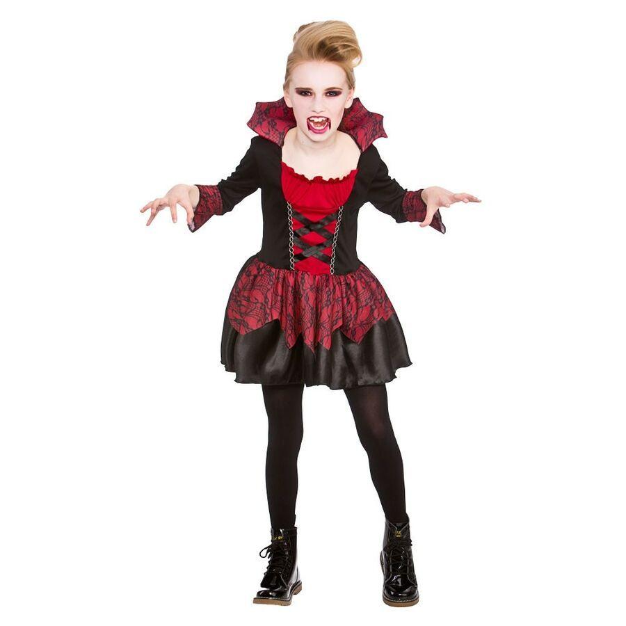 Girls Little Vampiress Costume for Vampire Dracula Halloween Fancy Dress