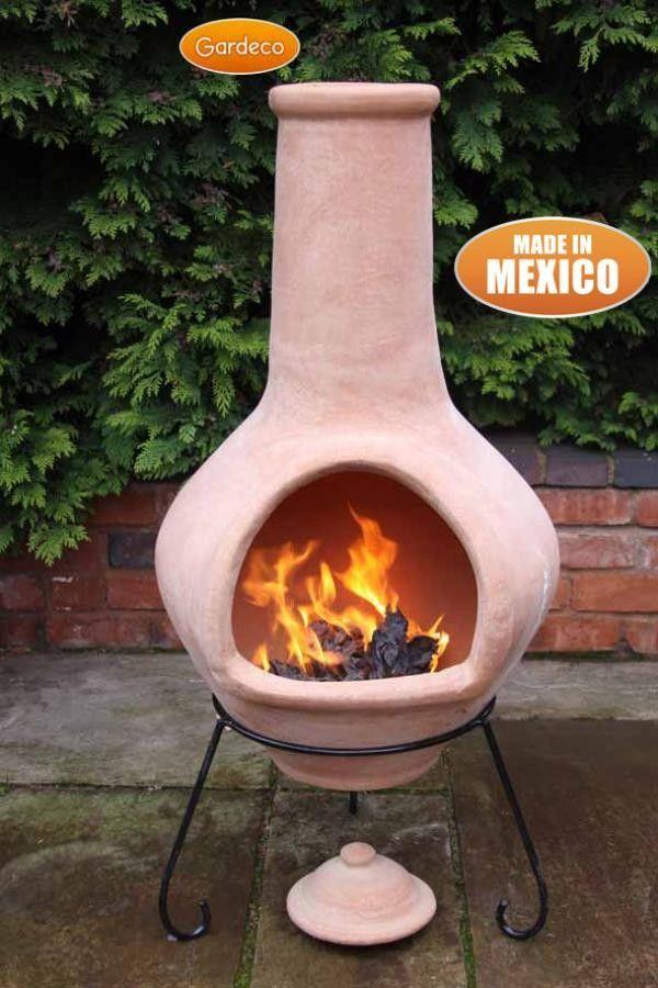 Gardeco Tibor Natural Terracotta Jumbo Clay Chimenea Clay Chiminea Garden Pottery Clay Fire Pit