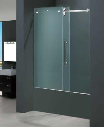 Vigo Vg6041chmt6066 60w X 66h Frameless Frosted Glass Tub Door