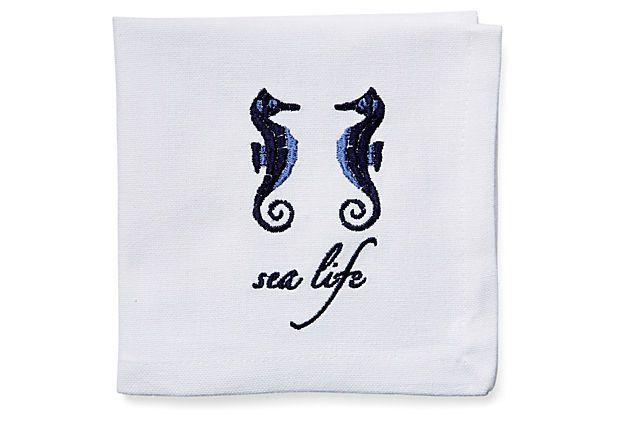 $15 S/6 Sea Life Cocktail Napkins on OneKingsLane.com