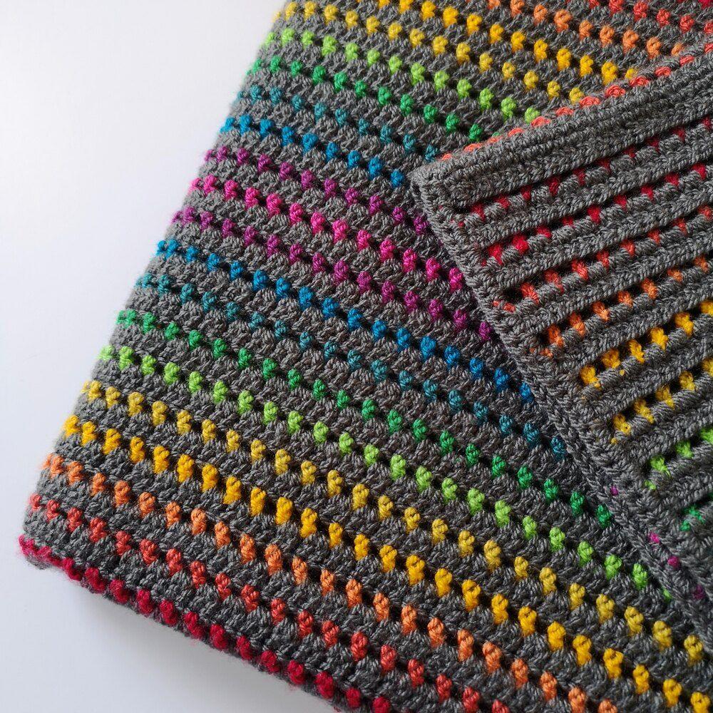 Rainbow Through The Storm Crochet Blanket Crochet Pattern By Melly Elly Crochet In 2020 Crochet Blanket Patterns Crochet Blanket Striped Crochet Blanket