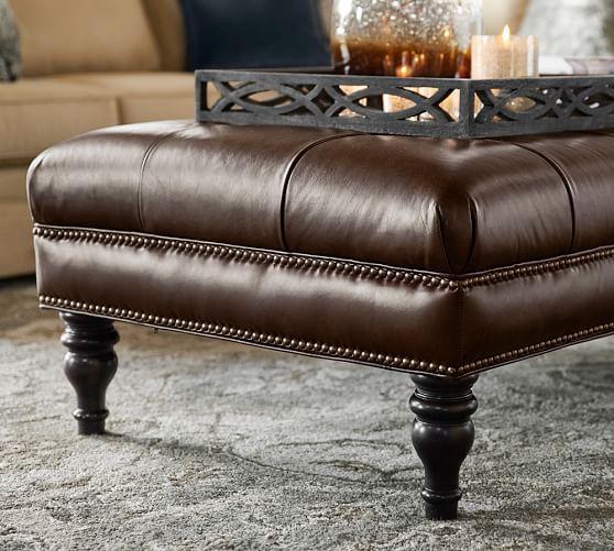Martin Tufted Leather Ottoman | Pottery Barn | PB client Amador ...