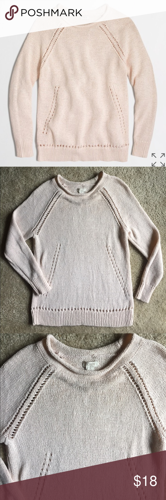 dc82045621 J.Crew Petite Beach Sweater w/ Pointelle Detail, S Adorable knit sweater  from J. Crew Factory. In excellent used condition with no flaws!