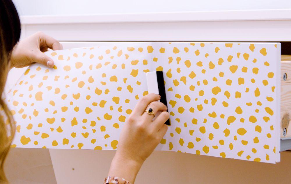 How To Wallpaper A Dresser Refinished Dresser Diy Wallpaper Dresser Diy Dresser Makeover