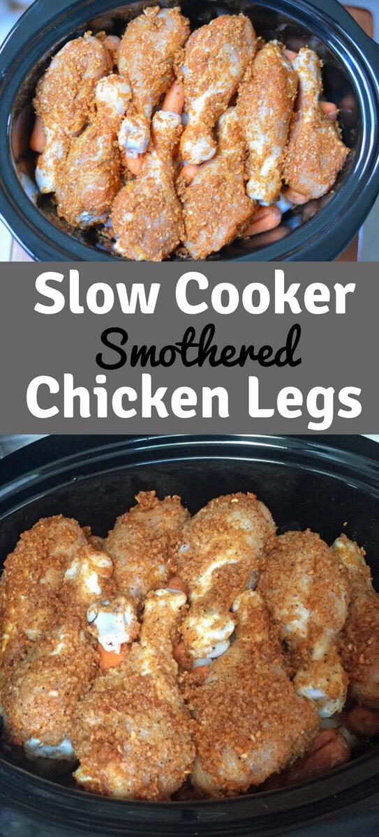 Smothered Chicken - Easy Crockpot Chicken Legs Recipe #easycrockpotchicken