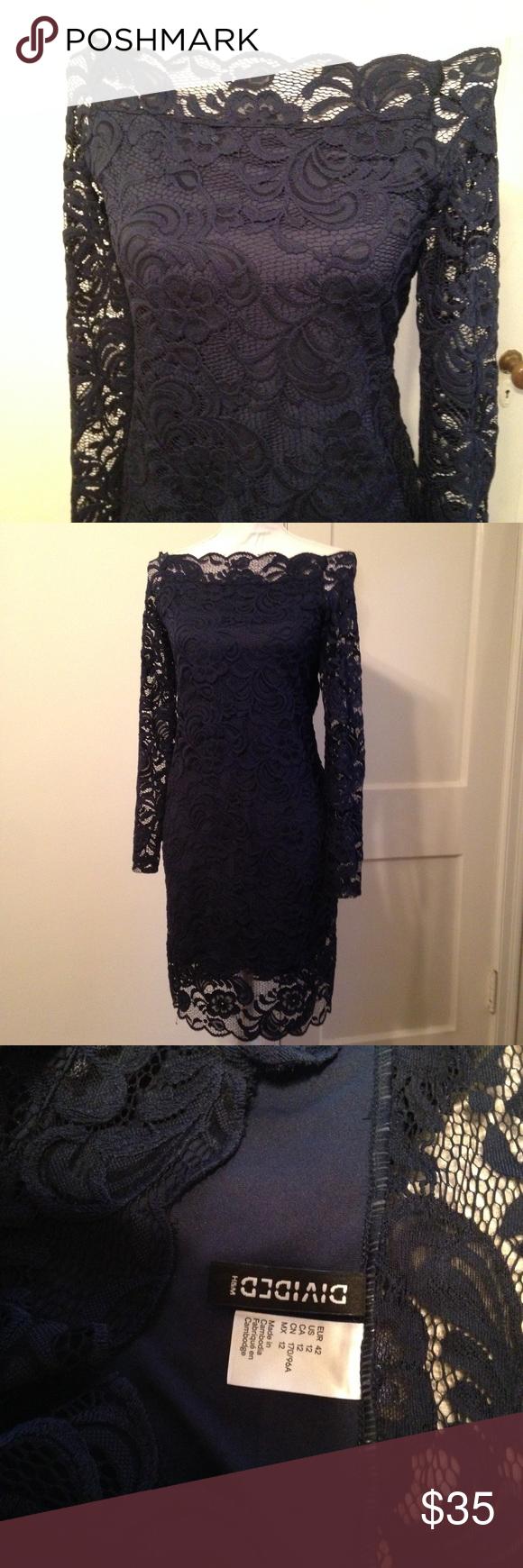H&m blue lace dress  HuM Divided Blue Lace Off the Shoulder Dress  Shoulder dress
