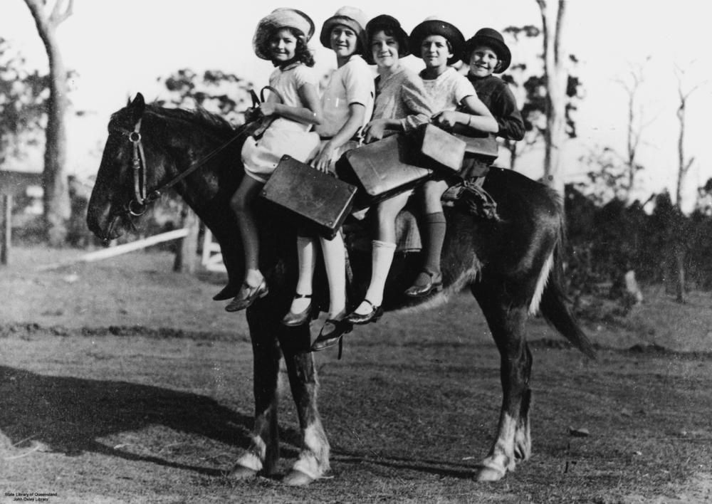 Children riding a horse to school, Glass House Mountains   Horses, Pony  rides, History