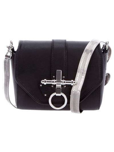 4aa59c4d5492 Black leather Obsedia shoulder bag from Givenchy featuring a silver-tone  chain shoulder strap