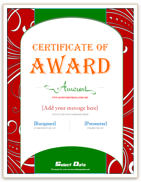 Award Gift Certificate Templates  Gift Certificate Template