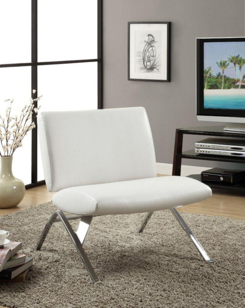 Contemporary Occasional Faux Leather Accent Chair in White ...