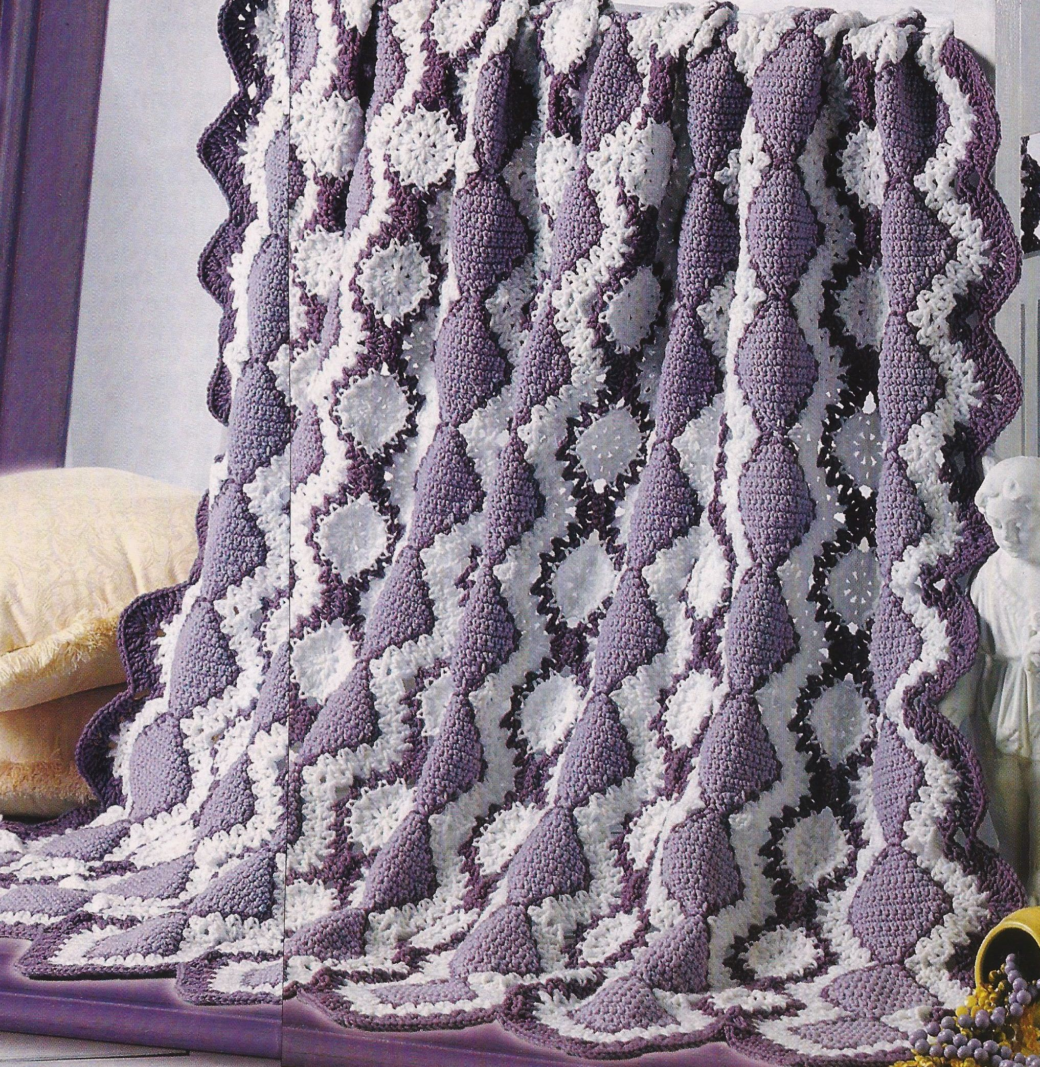 Crochet Afghan Pattern - Lavender & Lace - Pattern No. CR955521 by ...