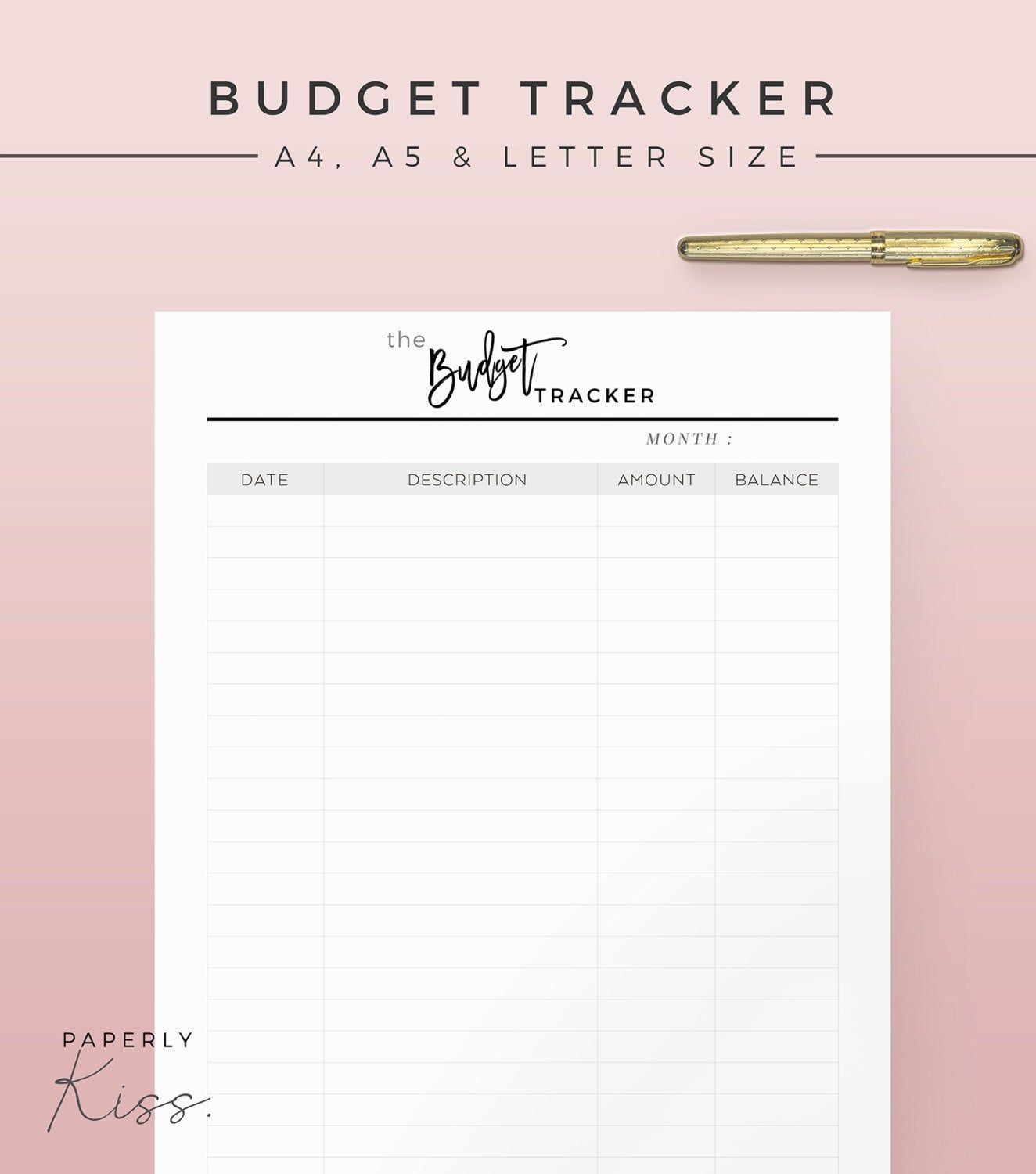 Monthly Budget Tracker Printable Planner Inserts Modern