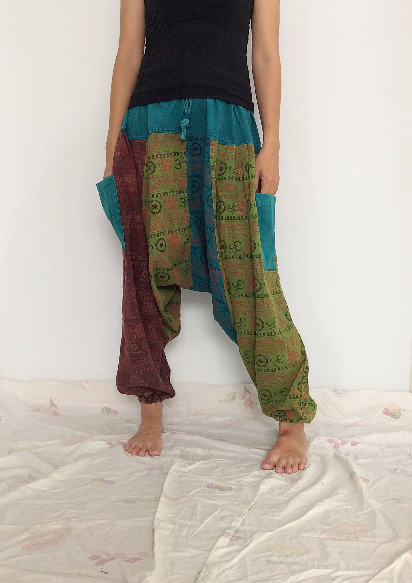 Mixed Colors Hippie Harem Pants, Unisex Pants, Drop Crotch Pants, Baggy Pants with Om patterned (HR-532) by ThaiFascinate on Etsy
