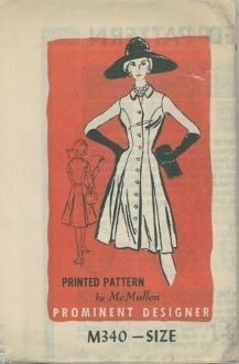An original ca. 1963 Prominent Designer Pattern M340.  One-piece dress with princess seamlines and ful-flared skirt created by inverted box pleats all the way round.  Neckline has a small flat pointed collar.  Can be made sleeveless or with short set-in sleeves.