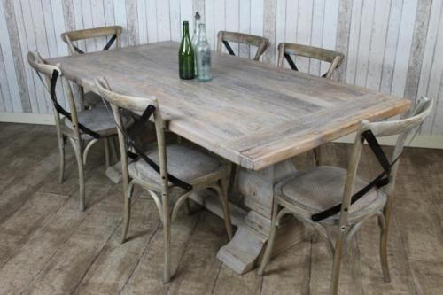 Distressed Limed Elm Dining Table White Washed Bleached Kitchen