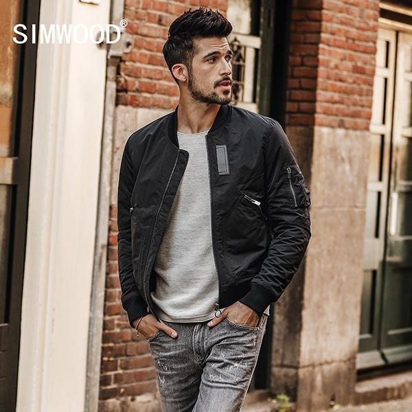 e7cfeb0ec7d SIMWOOD Brand Jackets Men 2018 Autumn New Fashion Coats Jacket Male Casual  Outerwear Slim Fit Plus size Free Shipping JK017007
