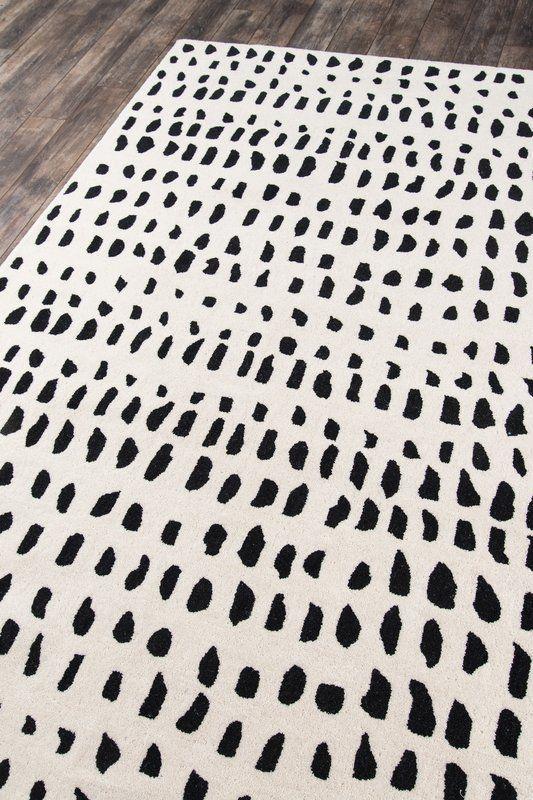 Polka Dots Handmade Tufted Wool Ivory Black Area Rug In