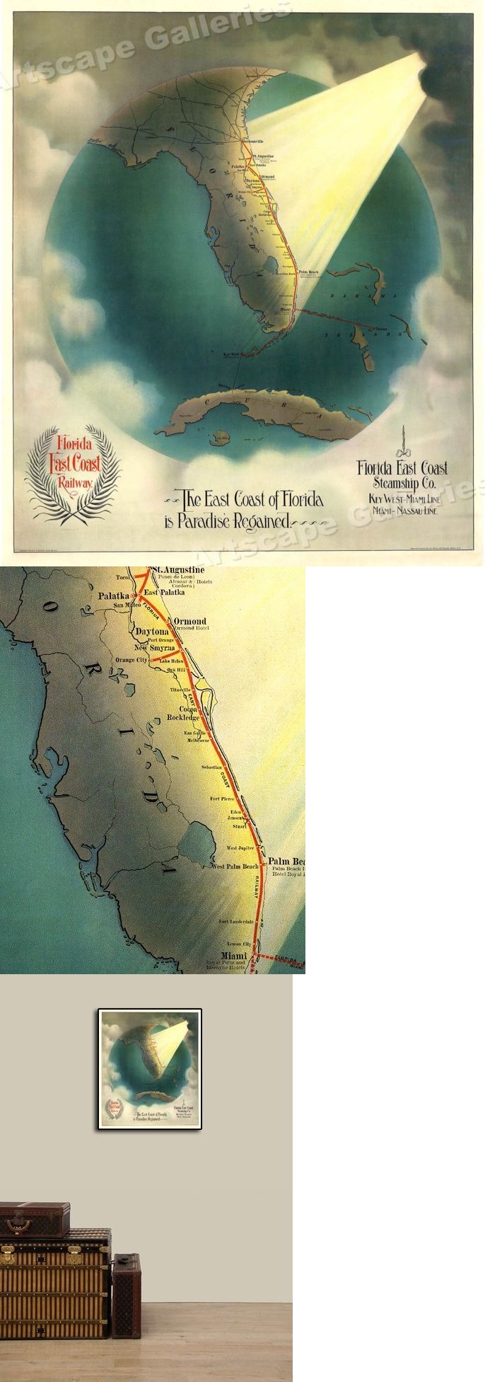 Map Of East Coast Of Florida.Maps Atlases And Globes 37958 1880s Florida East Coast Steamship Co