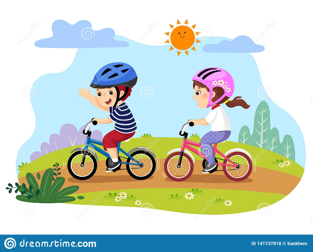 Happy Kids Riding Bicycles In The Park Stock Vector Illustration