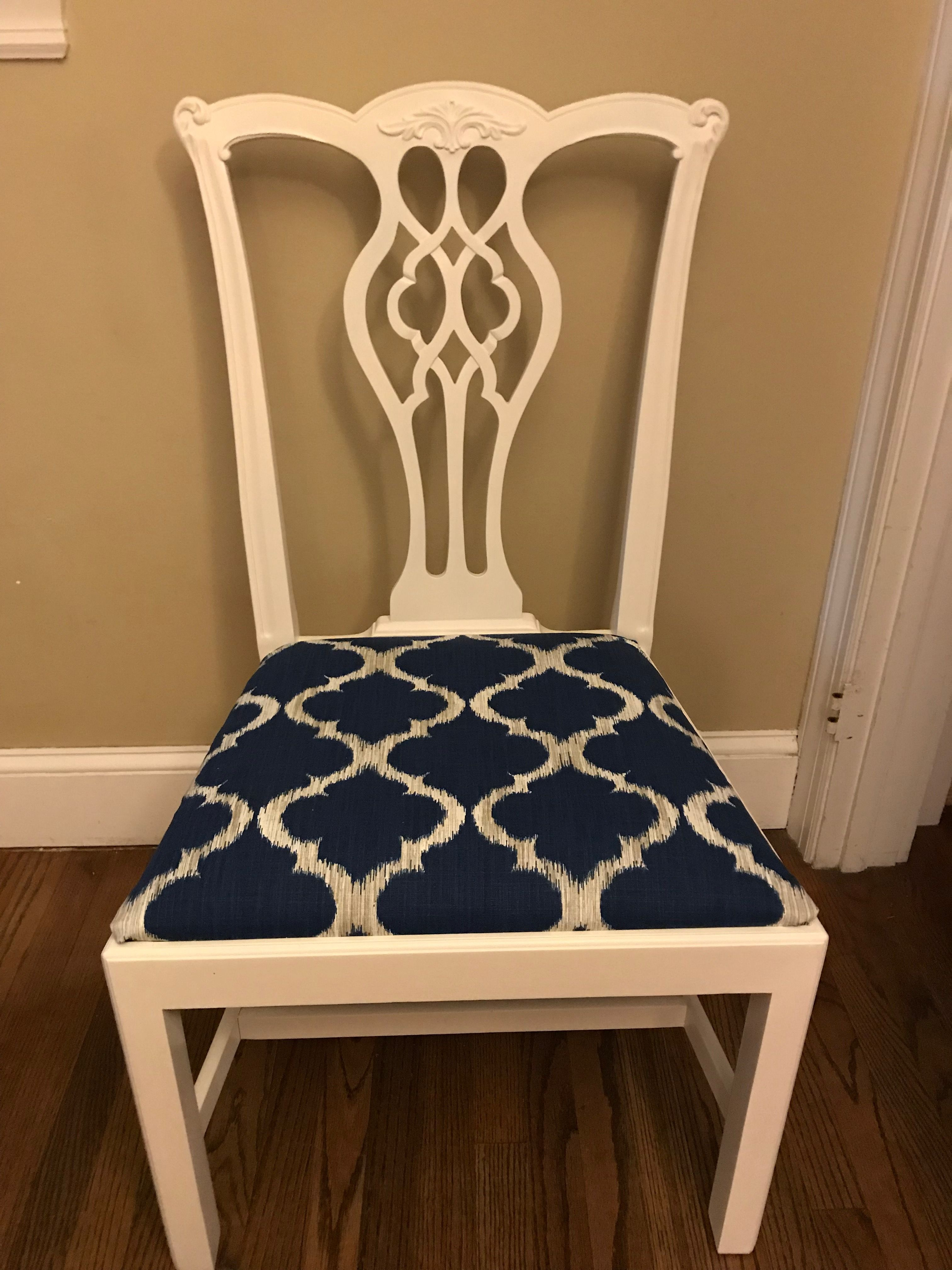 Painted Chippendale Chair With Updated Upholstery