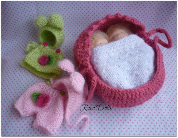 Two 5 Baby dolls Crochet Baby Basket Purse and by RusiDolls, $110.00