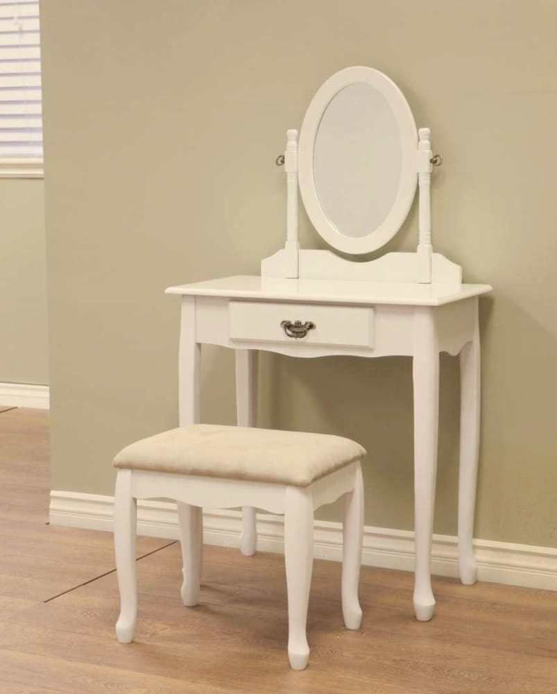 Details about white mirror antique makeup dresser table w vintage