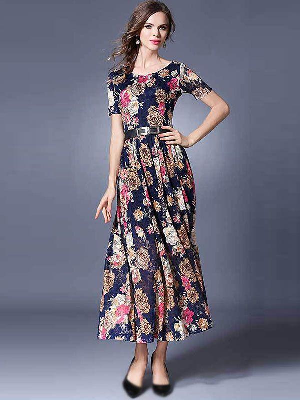 b66de6ff6365e Trendy O-Neck Short Sleeve Floral Print Maxi Dress from DressSure.com # dresssure #fashion #dresses #HighQuality