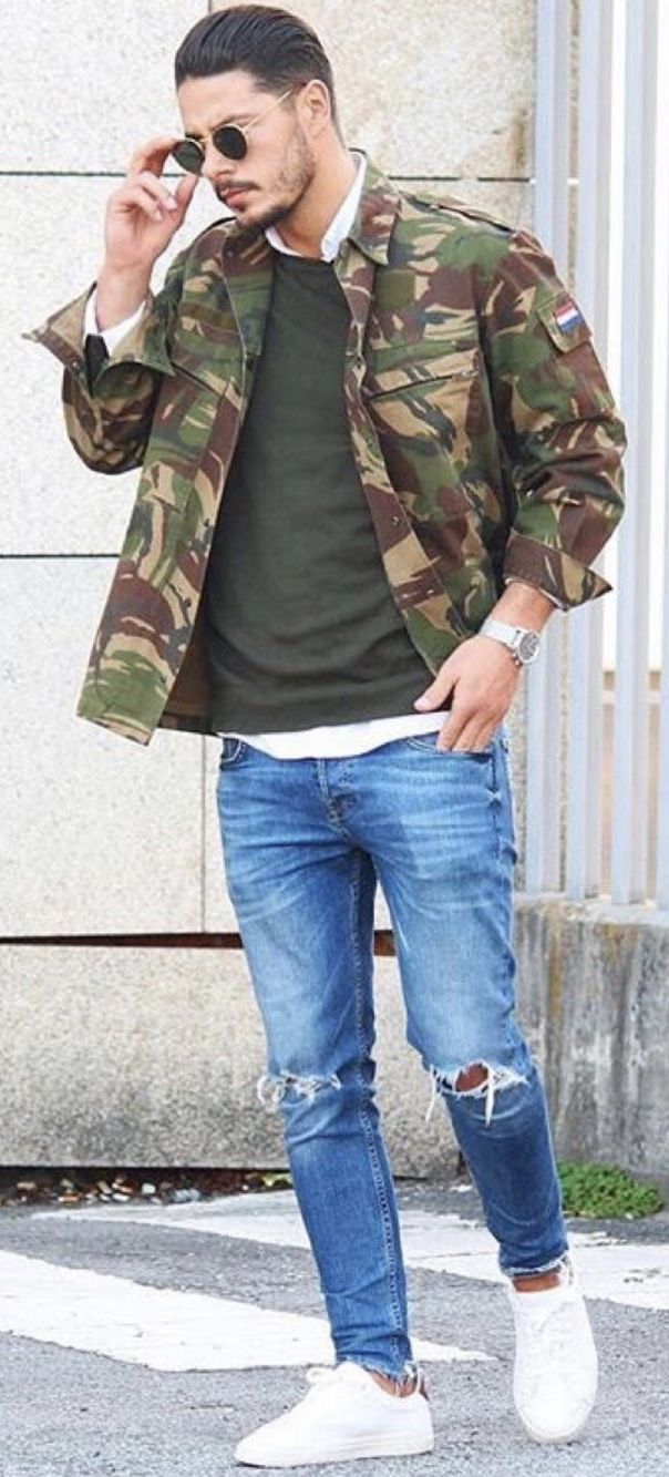 Fall streetwear inspiration with a camo jacket green sweater