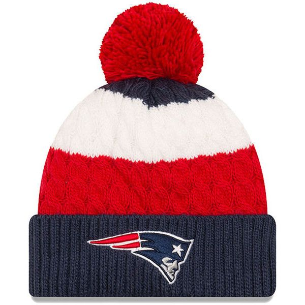 the best attitude fc1a9 8a655 ... reduced new england patriots new era girls youth layered up cuffed knit  hat with pom navy