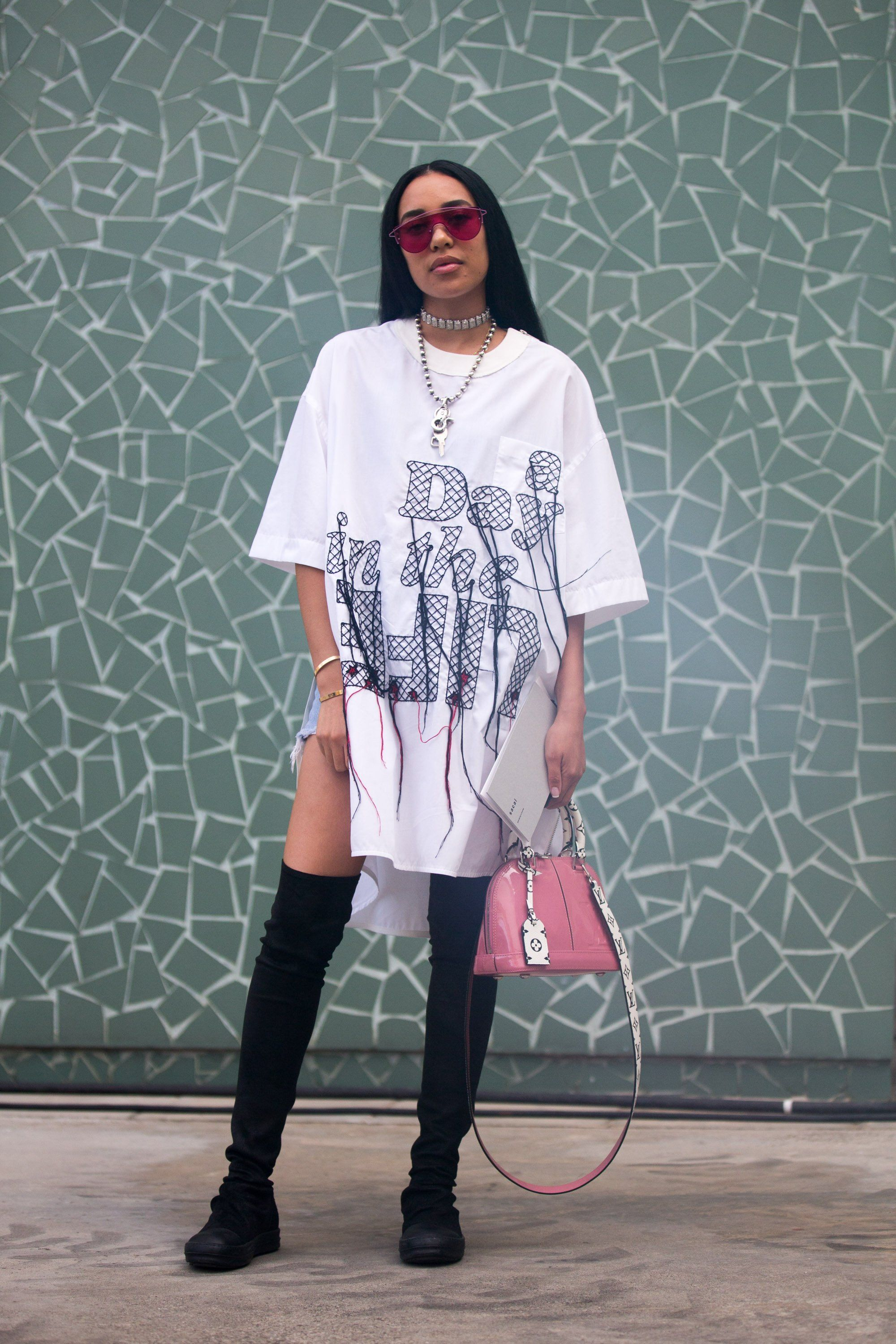 Wear An Oversize T Shirt As A Dress And Style It With Thigh High