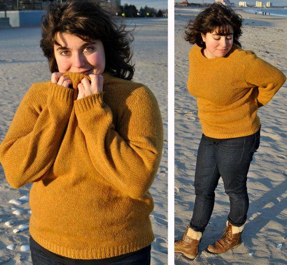 Plus Size Sweater Mustard Yellow Wool // The Boyfriend Sweater ...