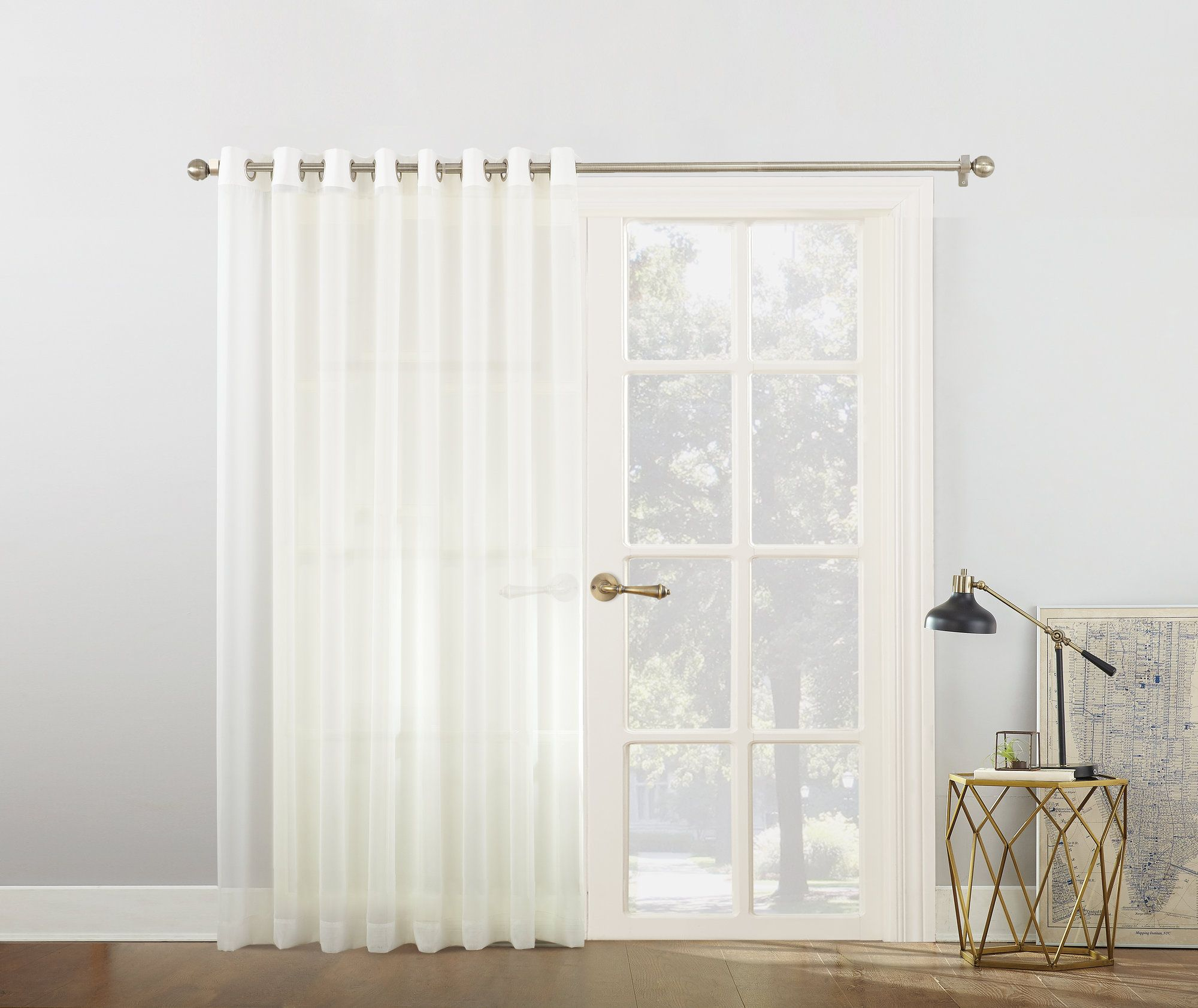 Emily voile sliding door patio solid semisheer single curtain panel