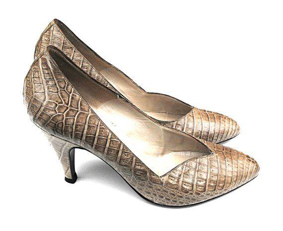 af21bce2c40 1950s Miss Amore Stilettos Rare Vintage Avant Garde Faux Snakeskin Leather  Italian Designer Python P