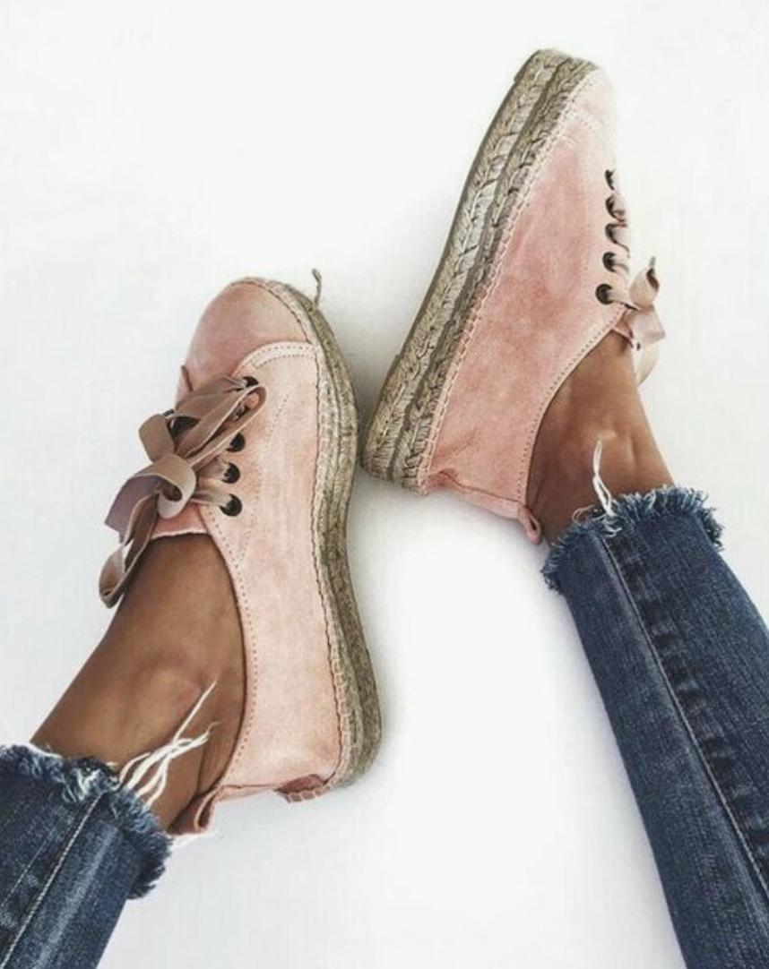 pink suede espadrille sneakers
