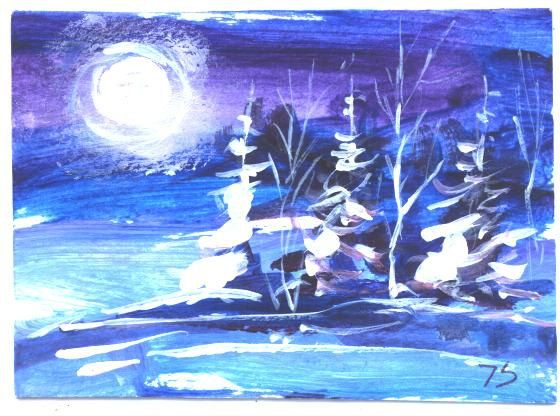 ACEO  Winter Wonderland landscape painting by by jimsmeltzgallery, $20.00