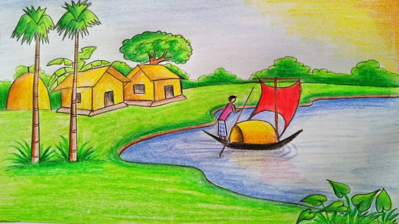 Scenery Drawing Colour Pencil Easy Nature Drawings Nature Drawing For Kids Nature Drawing