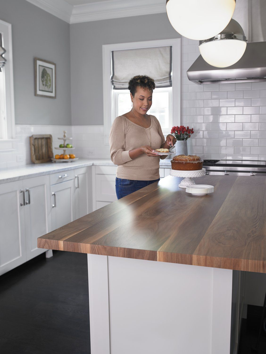 Kitchen With White Cabinets And 180fx Laminate Wide Planked Walnut Island Click Through To Kitchen Countertops Laminate Kitchen Remodel New Kitchen Cabinets
