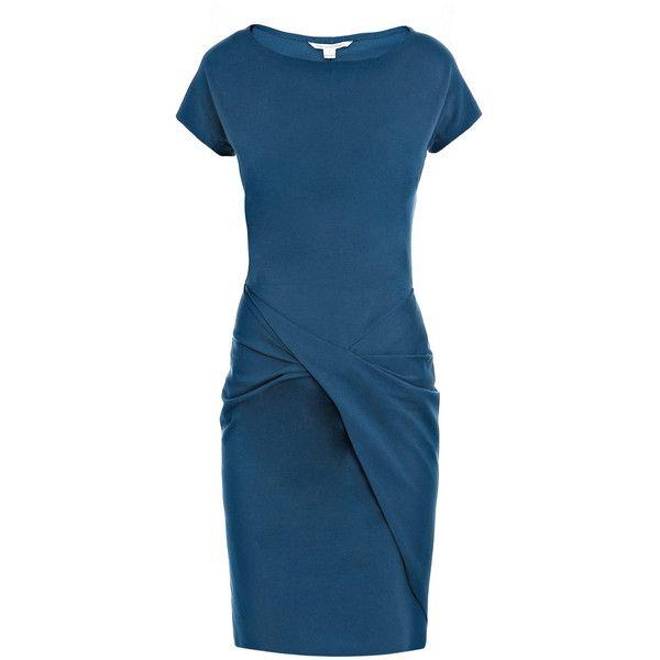 Diane Von Furstenberg Rika dress ($225) ❤ liked on Polyvore featuring dresses, boatneck dress, slimming dresses, boat neck dress, diane von furstenberg dresses and short sleeve dress