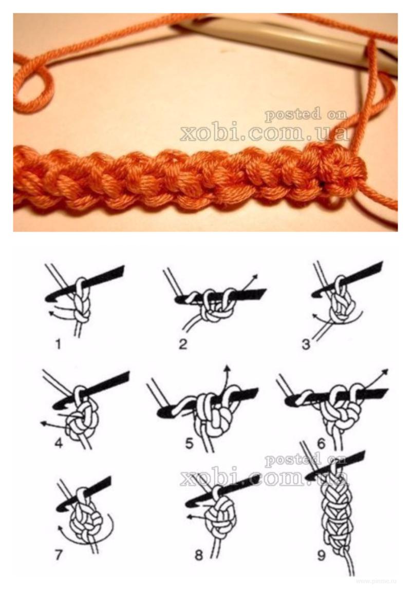 Схема для шнура гусеничка крючком