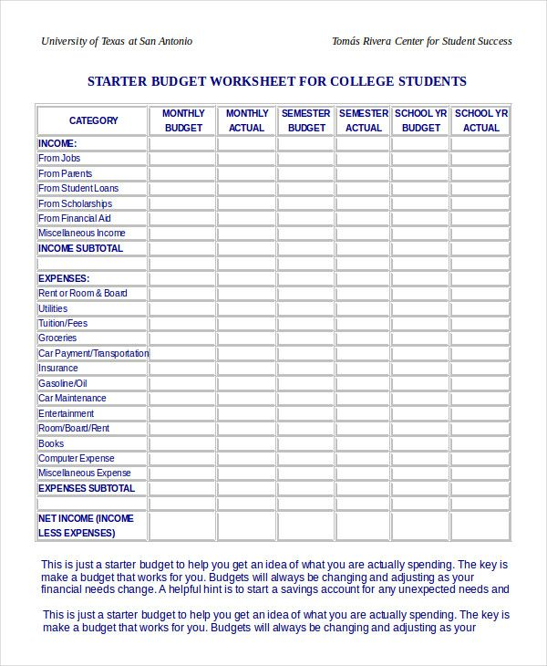 Budget Worksheet For College Students , Simple Monthly Budget Template , Simple  Monthly Budget Template And Its Function As The Growing Of The Small ...