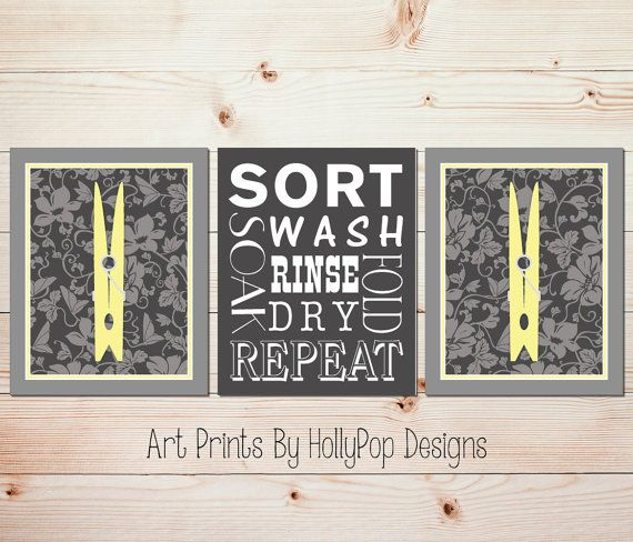 Yellow Gray Laundry Room Art Clothespin Wall Decor Wash Dry Fold Repeat Sign Poster